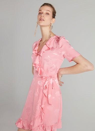 Ipekyol Anvelop Kapama Fırfır Şeritli Elbise Pembe